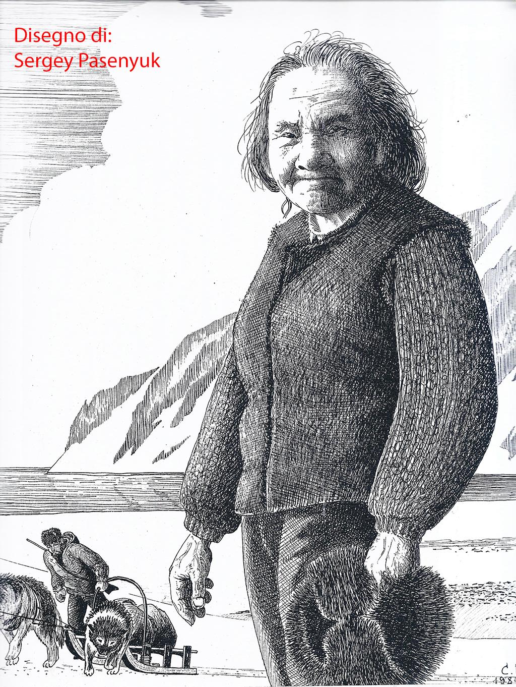 1131 Disegno di Sergey Pasenyuk, artista di Nikolskoye, raffigurante donna Aleut copia